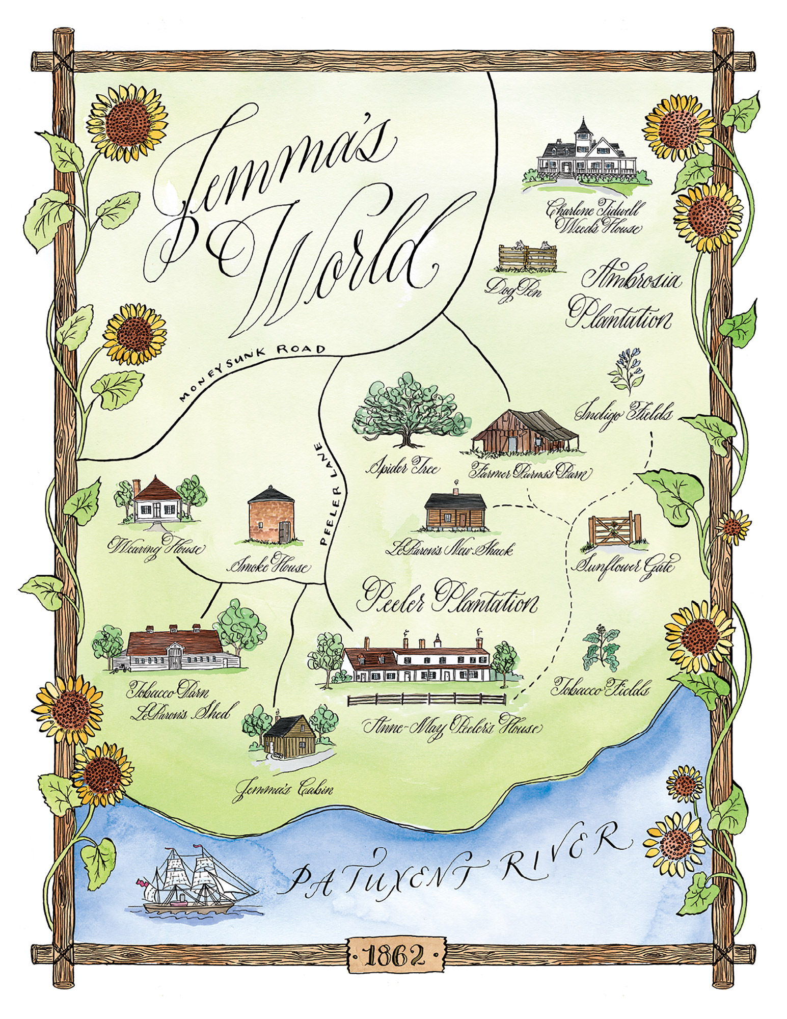 An Illustrated Map of Jemma's World from Sunflower Sisters