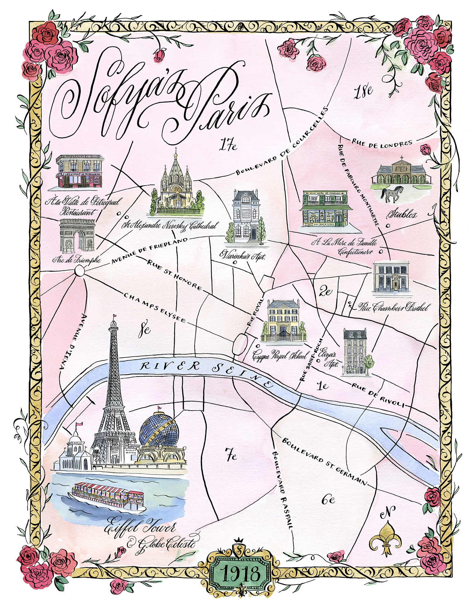 An Illustrated Map of Sophia's Paris from Lost Roses